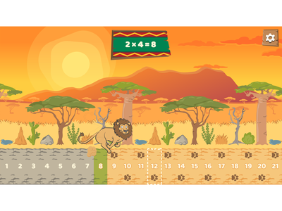 Multiplication table lines level from Safari Train 123 math game game assets sun cartoon sun game level ui design game ui cartoon landscape cartoon style character design game development cartoon africa africa lion cartoon lion cartoon game cartoon character cartoonish cartoon illustration game design