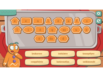 Level from Word Finder grammar game game illustration cartoon gingerbread man gingerbread man gingerbread cartoon game illustration button design ui design game ui cartoon style character design game development cartoon character cartoonish cartoon illustration game design game art grammar game