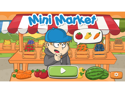 Mini market game main screen game illustration vegetable illustration fruit illustration gane artist game ui market vegetable fruit cartoon vegetable cartoon fruit cartoon market marketing character design cartoon style cartoonish illustration cartoon illustration game art cartoon character cartoon game
