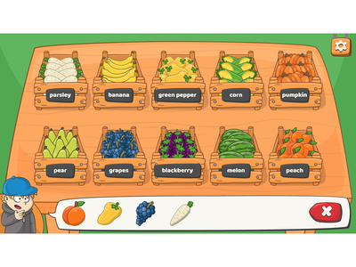 Vegetables/fruits level from Mini market memory training game ui design game ui game artist level design memory game vegetables fruits cartoon vegetables vegetable illustration cartoon fruit fruit illustration game assets assets cartoon character cartoon style game development game design cartoon game game art cartoon illustration