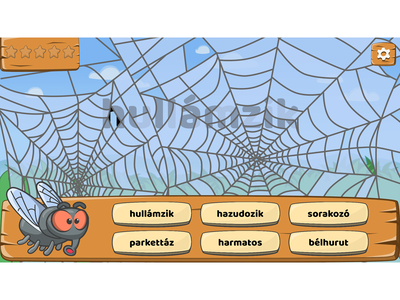 Fly & spider web level from Buggy Words game cartoon wood wood game illustration game character character design button design game assets ui design game ui cartoonish cartoon style cartoon game cartoon character game art cartoon illustration fly character design spider web fly character cartoon fly fly