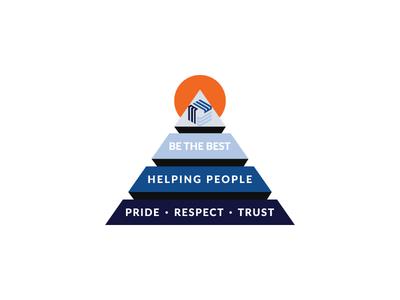 Modernized pyramid logo concept