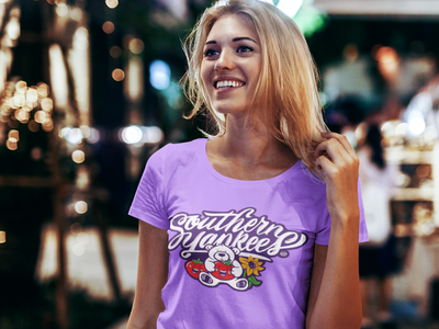 Southern Yankees Tribute Shirt purple yankee southern tshirt tomoato sunflower bear script lettering