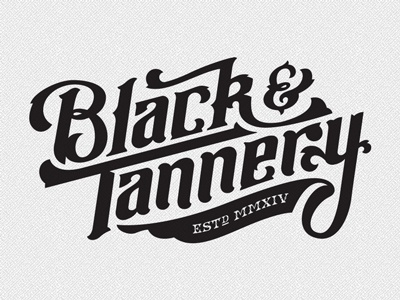 Black & Tannery™ black tannery leather blacksmith handlettered logo