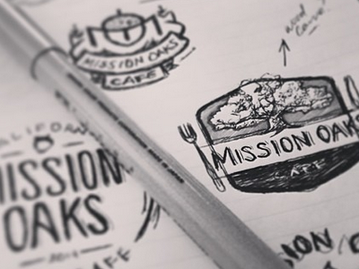 Mission Oaks Cafe Sketchin' columbus creative logos design sketches bw badges mission oaks cafe vintage cali