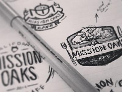 Mission Oaks Cafe Sketchin' columbus creative logos design sketches bw badges mission oaks cafe vintage cali
