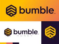 In the Middle of Nowhere Honey bumble deep purple golden stripes bee honey branding hexagon logo