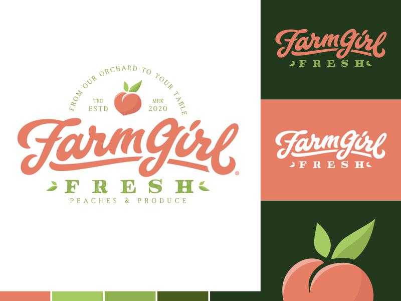 FarmGirl Fresh Produce® badgedesign produce fruit green peach peaches script lettering hand lettering branding logo