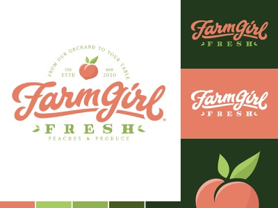 FarmGirl Fresh Produce® badgedesign produce fruit green peach peaches script lettering hand lettering branding logo