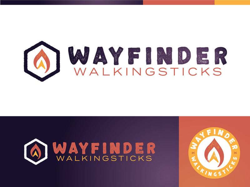 Wayfinder Walkingsticks® Logo arrow light compasses outdoorsy red purple walkingstick crafts small business walking gold brand badge branding logo
