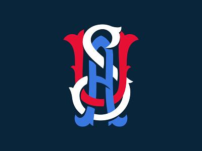 USA Monogram blue white red monogram usa branding badge logo