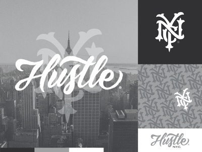 Hustle® NYC Brand hustle clothing brand new york city new york nyc design white script logo monogram lettering branding