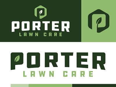 Porter Lawn Care™ greens leaf porter lawn logo lawncare design monogram logo lettering brand branding