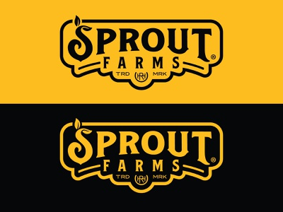 Sprout Farms® Logo sprout gold black farm logo farming branding logo