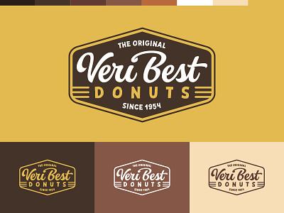 Veri Best Donuts® illustration white gold design lettering donuts script banner logo brand identity branding