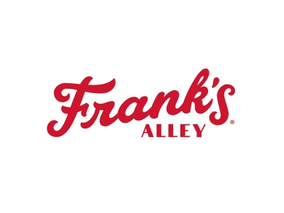 Franks Alley® Hotdogs script red black badge logo letter logo brandings lettering hotdogs franks