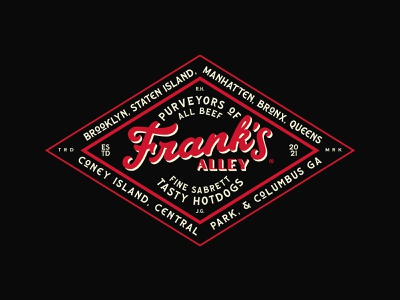 Frank's Alley® Badge hotdogs illustration design script lettering monogram branding brand logo badge