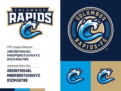Columbus Rapids® Branding pro sports futbol soccer georgia columbus rapids wave illustration design blue monogram brand lettering badge branding logo