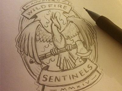 AWS Sketch sketch american wildfire sentinels badge logo axe phoenix fire flames