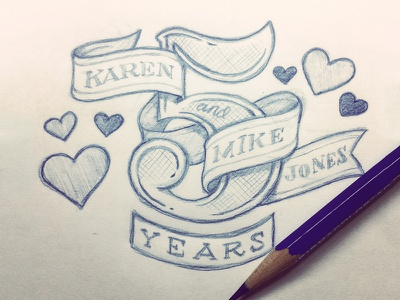 5 Years! Boom. five 5 years anniversary love hearts hand drawn lettering numbers