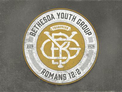 Bethesda Youth Throwback bethesda youth throwback 1828 badge logo grunge gin font gold