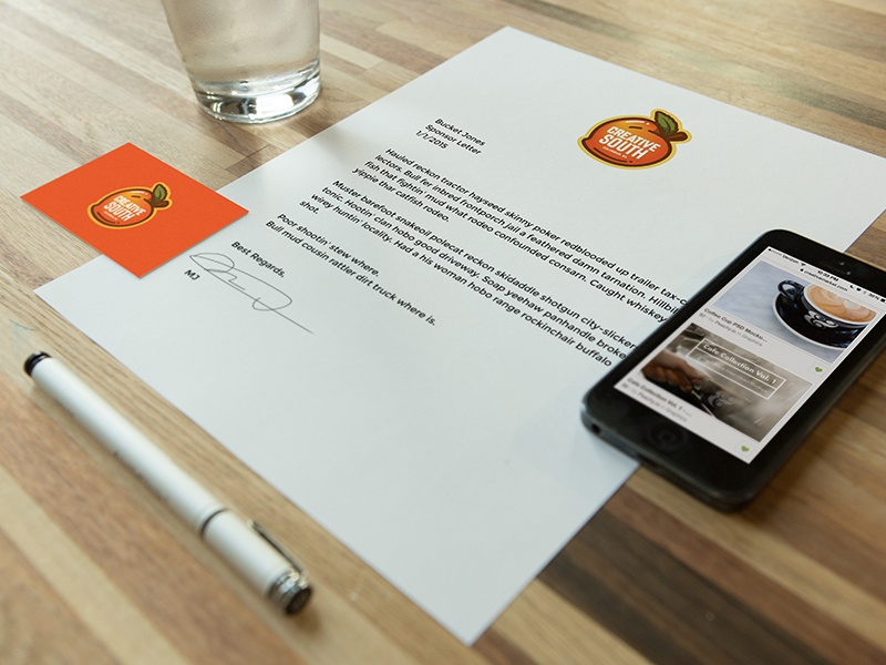 Workplace Stationary Kit #1 mockup peachyio device iphone letterhead stationary pen water letter business card table