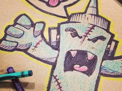 Frankensauce! happy halloween frankensauce bbq stitches crayons sharpie drawing