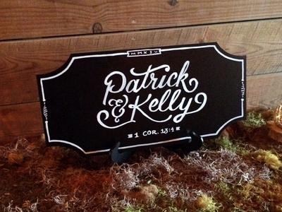 Patrick & Kelly hand lettering quick chalk black  white wedding bride groom moss border barn