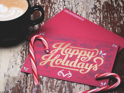 Realtree Happy Holidays Card realtree happy holidays christmas french paper co. gold foil letterpress emboss silver holly hand lettering illustration