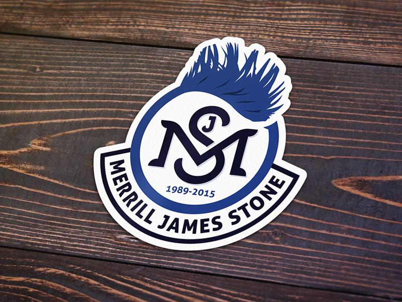 Merrill Stone Memorial Sticker merrill stone sticker monogram mjs ms blue mohawk