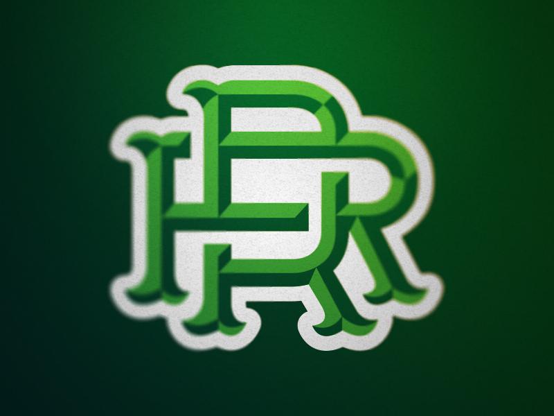 RR Monogram greens letters logo sports monogram rr