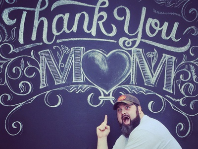 Happy Mother's Day! thank you mom church backdrop lettering chalk mom mothers day