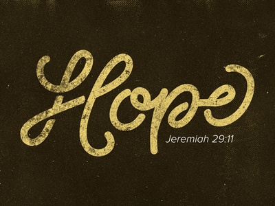 Hope brown yellow scripture single line weight script jeremiah 28:11 hope