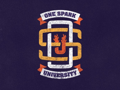 One Spark University white yellow orange monogram badge logo university one spark ministry faith
