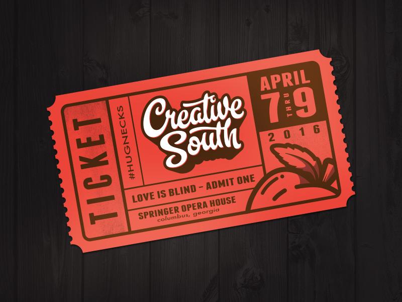 Creative South 2016 - EBTix creative south peach misprint script vintage ticket conference tickets earlybird cs16