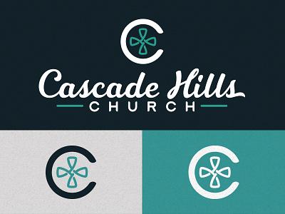 Cascade Hills branding church logo silver navy teal handlettered tithe font c cross logo church cascade hills church