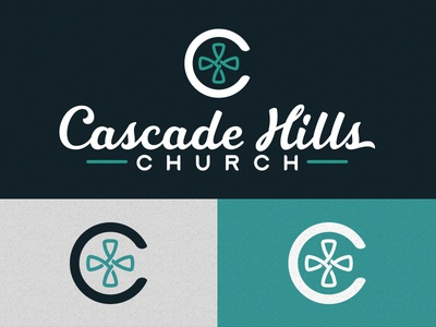 Cascade Hills branding church logo silver navy teal handlettered tithe font c cross logo church cascade hills church