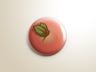 Peach Button for Inch X Inch leaves stem top view buttons art ed inch x inch button peach