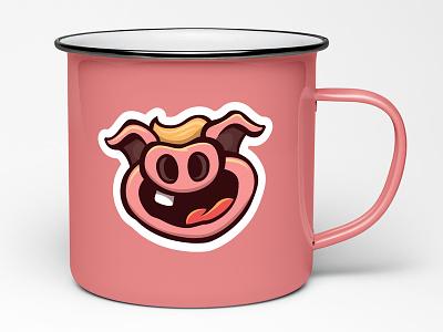 PIG MUG! bbq pink tooth goofy sticker cartoon pork mug coffee mug pig
