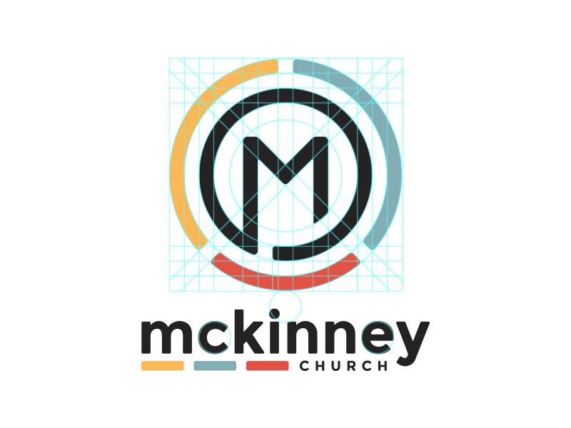 Mckinney Church blue yellow m red faith brand logo circles symmetrical branding church