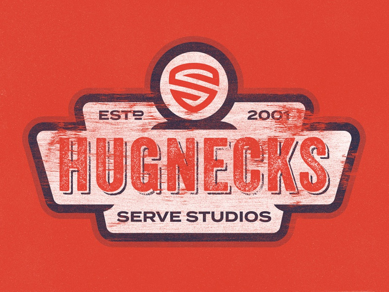 Servin' Up Hugs! vintage worn blue red-orange studios serve hugs hugnecks hat badge patch