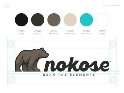 Nokose™ - Color & Space space logo nokose tan blue browns elements bear branding brand