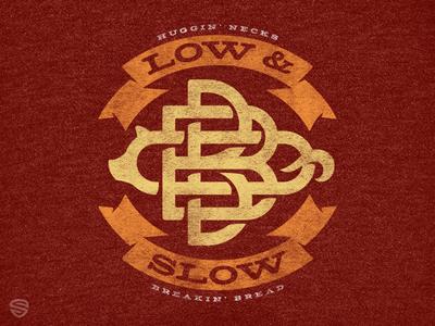 Low & Slow fire banners pig bbq brand logo tshirt badge monogram