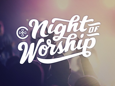 Night of Worship at Cascade Hills! songs church logo tilt script poster night hand-lettering worship