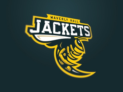 Waverly Hall Jackets helmet sports brand yellow jacket bee wasp bees jackets brand logo