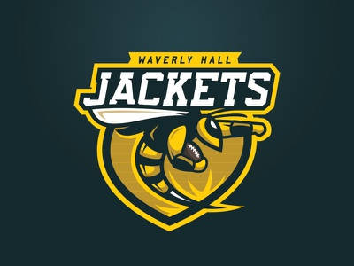 Waverly Hall Jackets v2 helmet sports brand yellow jacket bee wasp bees jackets brand logo