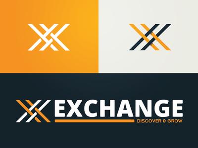 Exchange. Discover & Grow. monogram tan blue orange xs unused logo branding brand