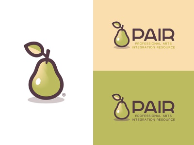 "PAIR™ Brand - ""Professional Arts Integration Resource"" learning apple teacher arts fruit pear pair logo brand branding"