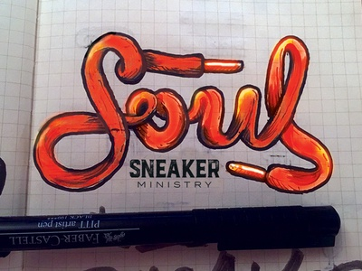 Soul Sneaker Ministry Sketch saved shoe string sneakers shoes soul ministry logo branding brand jesus