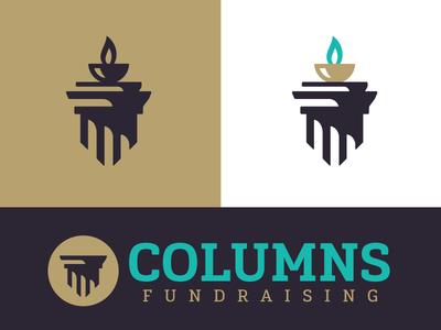 Columns Fundraising™ gold teal purple flame fundraising fund column logo branding brand